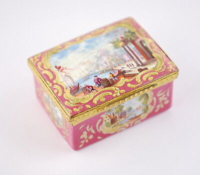 18th century antique porcelain box, handpainted, pink, Sevres? French?