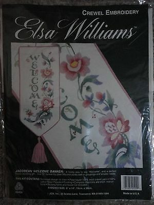 """Elsa Williams """"Jacobean Welcome Banner"""" Crewel Embroidery kit, 6"""" x 14"""""""