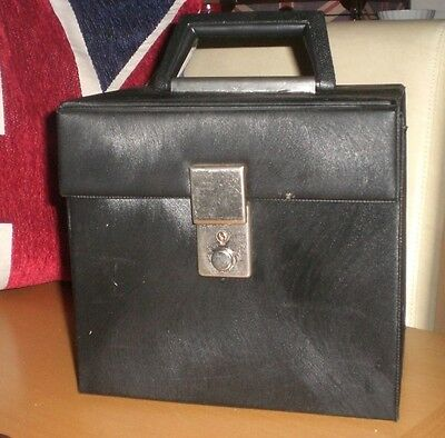 """Vintage 70s Vinyl 7"""" 45rpm Singles Record Storage Carry Case with Key"""
