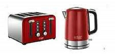 Kettle and Toaster Set RUSSELL HOBBS Windsor 4 Slice WIDE SLOT 1.7L RED