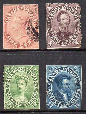 Colony of Canada 1859 Used Group of 4 all with Faults CUT MARGINS  See notes.