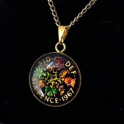 1967 Elizabeth II Enamelled Sixpence Coin Pendant. Black/gold/colour. 50th B'day