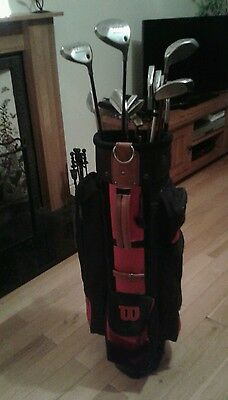 full right handed golf set with wilson irons and wilson bag