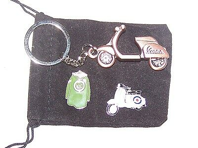 Mod Parker Pin Badge, Vespa Keyring, Lambretta Scooter Pin Badge in Gift Pouch