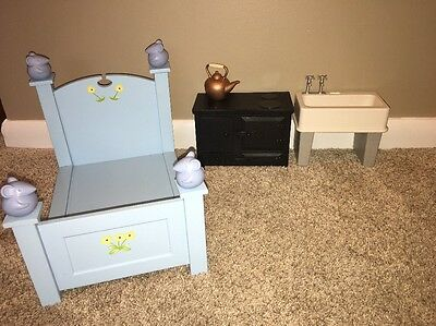 American Girl Angelina Ballerina Kitchen Stove Sink And Blue Bed Furniture Lot