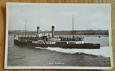 An Old Photo Postcard of Steam Ship SS Suffolk Deben or Orwell River