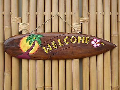 Wooden Hand Carved Painted TIKI WELCOME Surfboard Mask Plaque 100cm.....