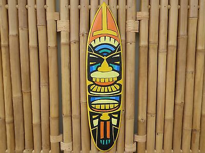Wooden Hand Carved Painted TIKI Surfboard Mask Plaque 100cm.....