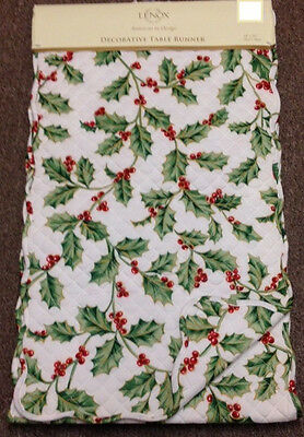 """LENOX HOLLY HOLIDAY CHRISTMAS 14"""" x 70"""" QUILTED RUNNER"""