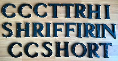 Old Vtg Cast Aluminum Original Black Paint 5 In Marquee Sign Name Initial Letter
