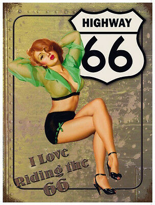 ROUTE 66 VINTAGE STYLE SEXY 50s PIN UP LADY METAL WALL SIGN GARAGE PUB POOL ROOM