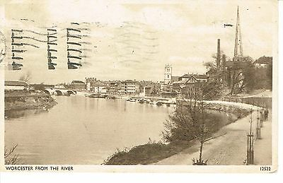 """RPPC Of """" Worcester from the River """" posted 1950"""