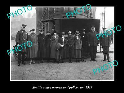 OLD LARGE HISTORIC PHOTO OF SEATTLE USA, POLICE WOMEN AND POLICE VAN c1919