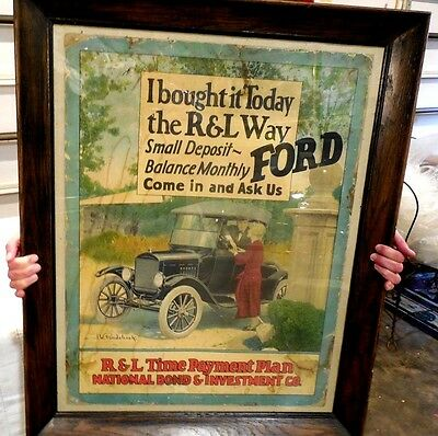 ORIGINAL 1920's FORD MOTOR CO. SIGN I BOUGHT IT TODAY THE R&L WAY PAYMENT PLAN