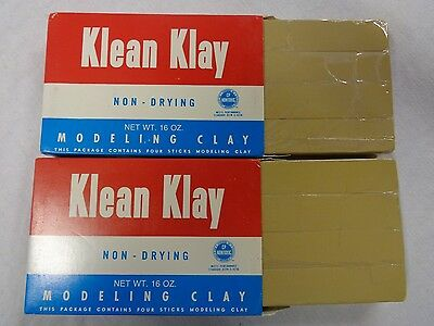 Cream Klean Klay Modeling Clay Lot 8 Sticks 32oz School Package No 20 Non-Drying