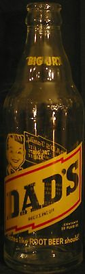 """DAD'S ROOT BEER """"BIG JR"""" Clear ACL Bottle  10oz. 1962  Richmond, MO."""