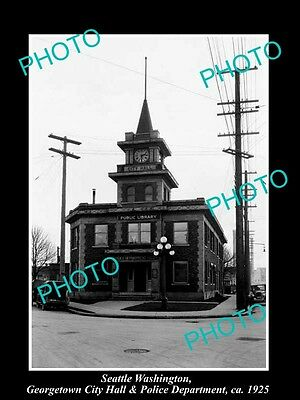 OLD LARGE HISTORIC PHOTO OF SEATTLE USA, GEORGETOWN POLICE & CITY HALL c1925