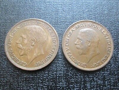 1920 & 1929 George V Half Penny - Collectable, better grades