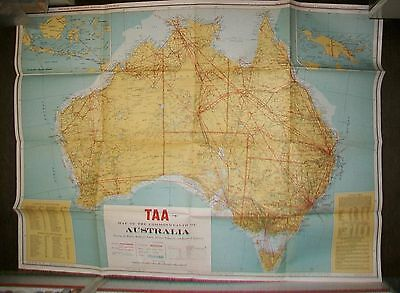 TAA MAP OF AUSTRALIA SHOWING AIR ROUTES RAILWAYS INDUSTRIES 6th ed 1958