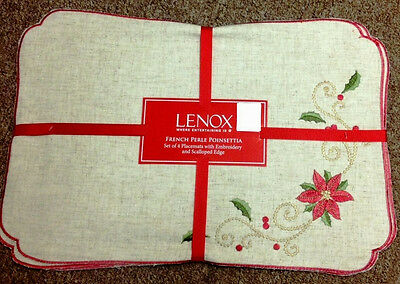 Lenox French Perle Poinsettia Embroidered Christmas Holiday Placemats - Set/4
