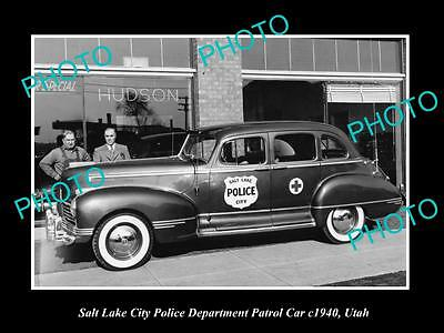 OLD LARGE HISTORIC PHOTO OF THE SALT LAKE CITY POLICE DEPARTMENT CAR c1940 UTAH