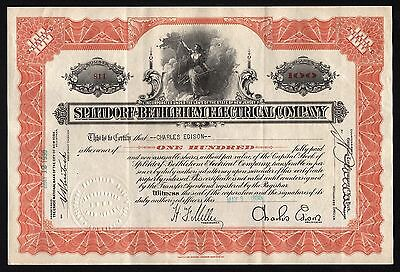 1930 Splitdorf-Bethlehem Electrical Company - issued to/signed by Charles Edison