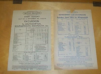 Br Southern Excursion Handbills To Weymouth From Portsmouth Exmouth 1952 & 1956