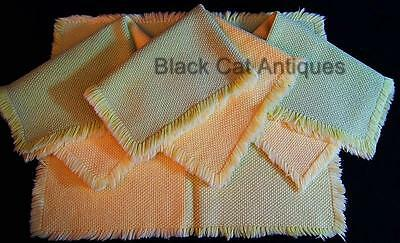 Lot of Four Vintage Fabulous Woven Color Blocked Cloth Placemats Green & Yellow