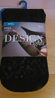 Ladies Patterned Black Tights From M & S Size Small