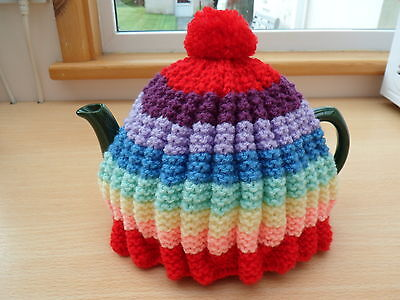 New Hand Knitted Tea Cosy Vintage Style Bright rainbow colours