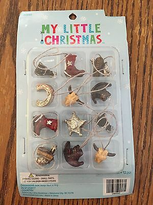 New Set of 12 Miniature Christmas Tree Ornaments Cowboy Ranch Western Boot Hat