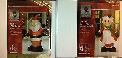 Set of 2 New Led Merry Christmas Mr Mrs Santa Claus Inflatable Airblown