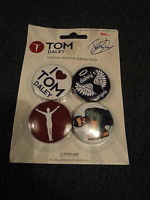 Tom Daley 4 Button Badges New