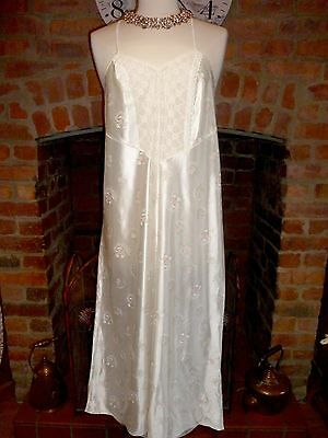 Vtg Ivory + Pink Ultra Femme Slithery Liquid Satin Nightdress Gown Size 16-18