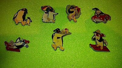 JOB LOT OF 7 x McVITIES PENGUIN 1985/1986 ENAMEL PIN BADGES