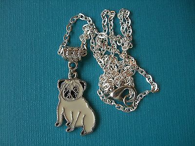 Handmade Pug Dog Necklace & Pendant Puppy Metal Silver Tone Enamelled Chain