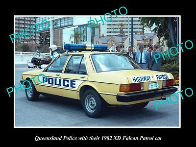 Old Large Historic Photo Of The Queensland Police Xd Ford Falcon Patrol Car 1982