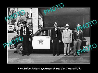 OLD LARGE HISTORIC PHOTO OF PORT ARTHUR TEXAS, THE POLICE & PATROL CARS c1950
