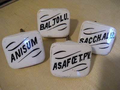 Lot of 4 VTG ANTIQUE Apothecary Pharmacy Porcelain Drawer Knobs Pulls Pat. 1889