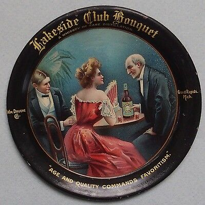 Colorful Lakeside Club Bouquet Whiskey Advertising Tip Tray Very Rare Near Mint