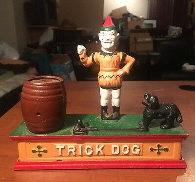 Vintage Coin Penny Bank Trick Dog Clown Circus cast iron