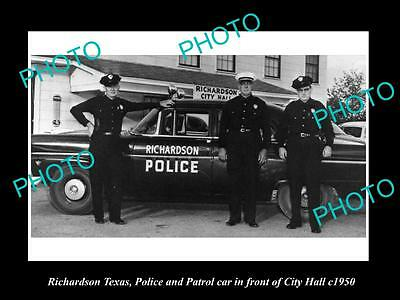 OLD LARGE HISTORIC PHOTO OF RICHARDSON TEXAS, THE POLICE & PATROL CARS c1950
