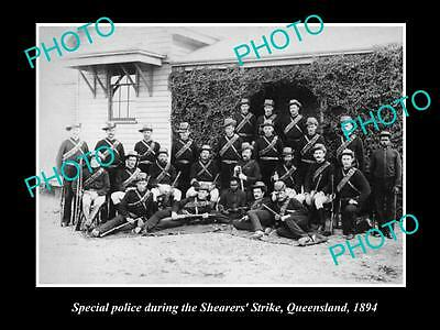 OLD LARGE HISTORICAL PHOTO OF SPECIAL POLICE FOR THE QLD SHEARERS STRIKE c1894