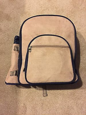 REDUCED! Deluxe Picnic At Ascot Suede/Canvas Backpack W/4 Place Settings NWT