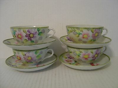Vintage Set Of Four Very Pretty Nippon Cups And Saucers Pink And Purple Flowers