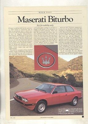 1984 Maserati Biturbo Roadtest Brochure ww5063