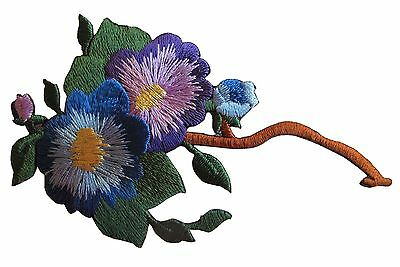#4535A Purple Blue Flower Embroidery Iron On Appliqué Patch
