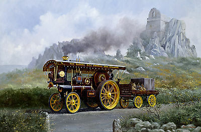 """BURRELL SHOWMANS ENGINE ""PROGRESS"""" signed print 17""X11"" ARTIST-SIGNED"