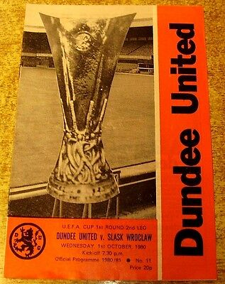 1980/81 UEFA CUP 1ST ROUND - DUNDEE UNITED v SLASK WROCLAW - 1 OCTOBER 1980