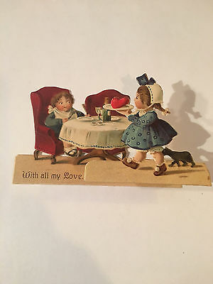 Vtg Valentine's Day card.Pop-up 3-D Germany Unsigned